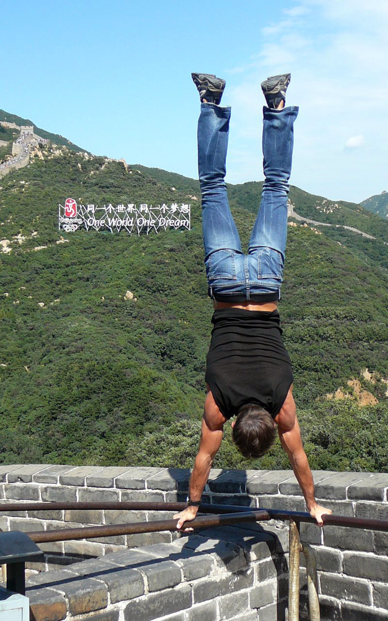 Great Wall of China handstand